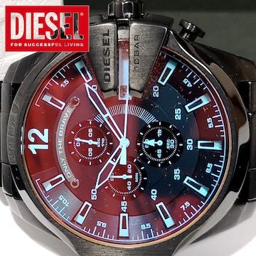 極美品【箱・保証書】1スタ★ディーゼル【クロノ】 超デカ腕時計