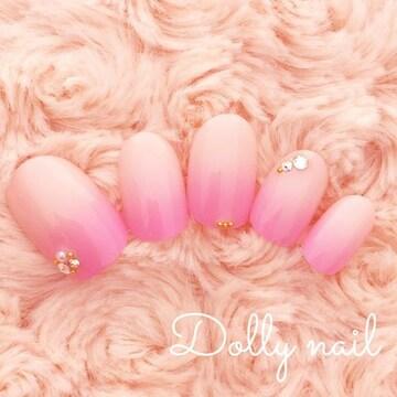 みぢょ!ショートオーバル花びらグラデーション春色可愛いシンプルネイル
