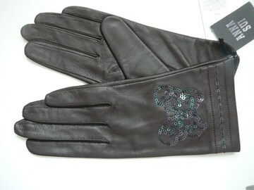 アナスイ羊皮革手袋バタフライスパンコール