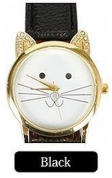 ラインストーン耳デザイン&猫絵腕時計PUレザーベルトBk