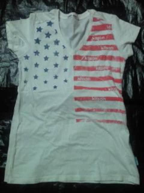 Kitson キットソン UNIQLO ユニクロ コラボ アメリカ 国旗 デザイン Tシャツ ホワイト L < ブランドの