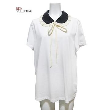 新品レッドヴァレンティノRED VALENTINO丸襟 Tシャツ 白 #XL