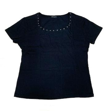 【美品】丸首半袖ラインストーンTシャツ/黒/L/コットン100%