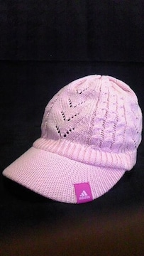 adidas〓吸汗速乾〓鍵編み綿コットンサマーニットツバ付きキャップ帽子〓ピンク