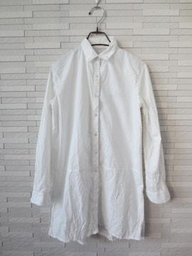 即決/GU/ジーユー/サイドスリット長袖チュニックシャツ/白/M