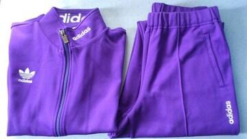 訳あり激安93%adidas、アディダス、刺繍、ジャージ上下(紫、日本製、O)