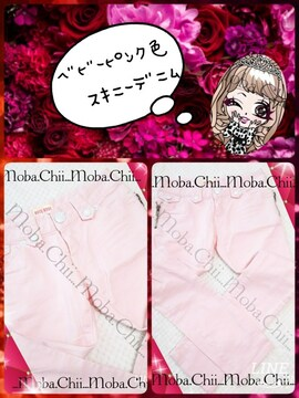 。。★ベビーピンク色*スキニーデニム//甘可愛カラー★。。