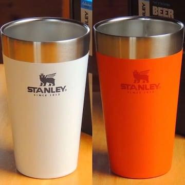 STANLEYスタッキング真空パイント2個セット☆ホワイト&オレンジ