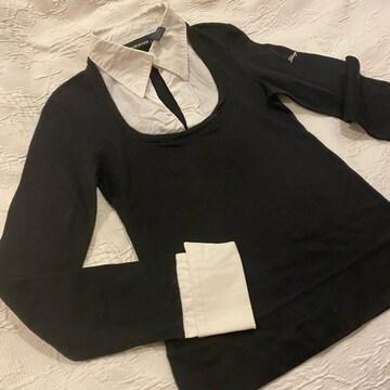 DKNY 重ね着風ニット ブラウス×セーター 黒 #XS