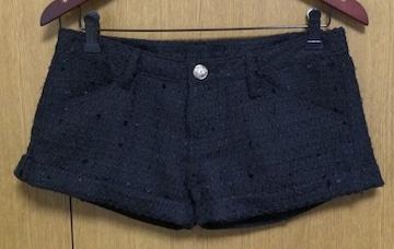 m】ツィードショートパンツ ウエスト64サイズ 黒