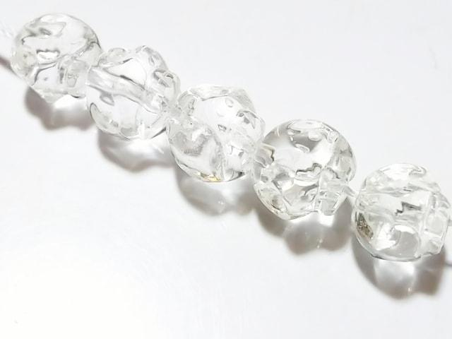 天然石★水晶 スカル彫り 10mm 5