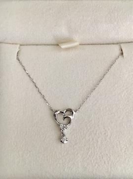 4℃ ダイヤモンド ハート ネックレス K18WG 1.8g