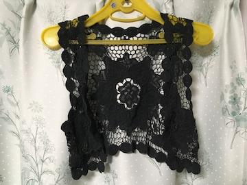 タイ購入ハンドメイド手編み花柄ベストボレロ黒色ブラック