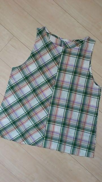 [ハンドメイド]切替チェック柄ノースリーブプルオーバーブラウス L〜LLサイズ相当  < 女性ファッションの