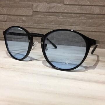 ブルーレンズ サングラス ボストン型 メガネ 眼鏡 メンズ 新品