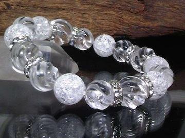 スクリュー水晶14ミリ12ミリ§クラック水晶12ミリ数珠