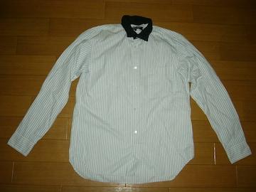 コムデギャルソンCOMME des GARCONS襟ウール ストライプシャツS