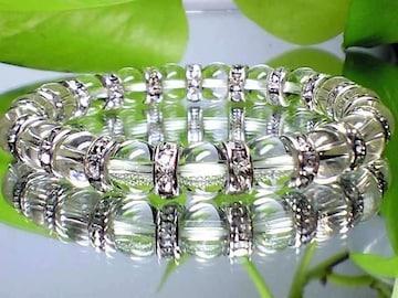 美品クリスタル高級水晶8ミリAAA銀ロンデル人気水晶数珠