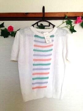 定価9720円◆麻 コットン 半袖 ニット ホワイト 白 M