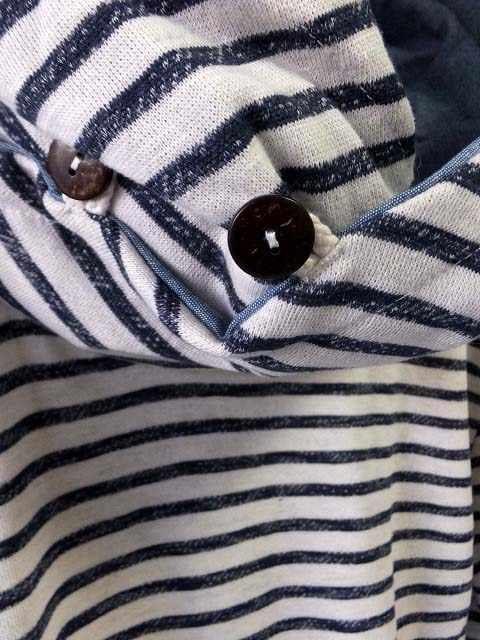 ボリュームネックフードボーダープルオーバーパーカーLホワイト新品※2点送料無料 < 男性ファッションの