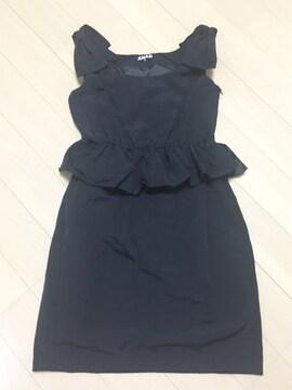 ANAP黒肩リボンペプラムドレスワンピース普段着からオケージョン