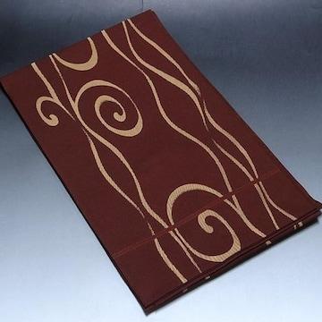 紬や色無地などにぴったりの袋帯 正絹 ブラウン地