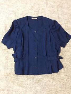 172.新品☆夏用半袖ノーカラージャケット☆紺 サイズXL