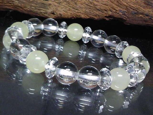 六角水晶系クォーツアイト‡水晶イエロー8ミリ数珠  < 男性アクセサリー/時計の