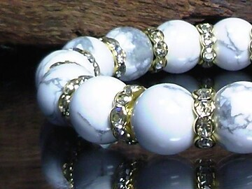 ホワイトターコイズ12ミリ波形金ロンデル数珠