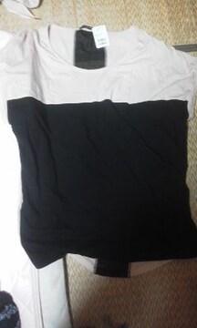 one way 薄ピンク&黒生地Tシャツ M
