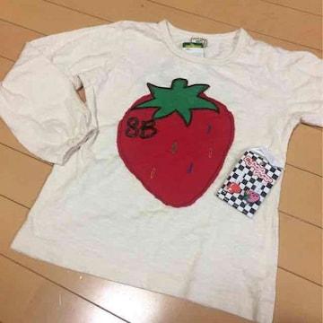 新品◆いちごアップリケ◆ボタンホールアクセ付◆130長袖Tシャツ