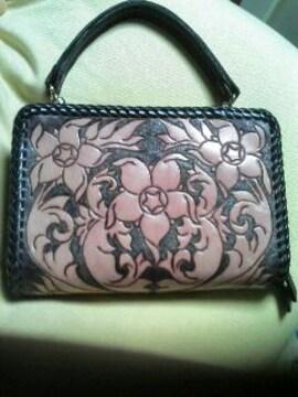 ハンドメイド本牛革カービング財布