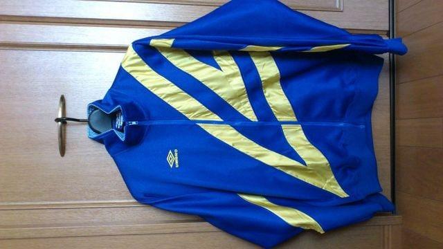 激安90%オフヴィンテージ、アンブロ、ジャージジャケット(美品、青黄、日本製、XO)  < 男性ファッションの