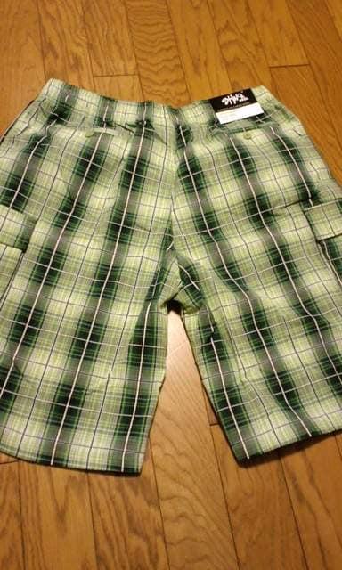 LA!SHAKAデザインチェックカーゴハーフパンツ 緑系 3XL XXXL �I 大きい < 男性ファッションの