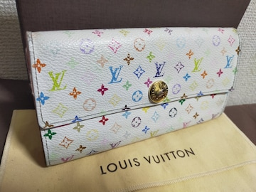 鑑定済み。ルイヴィトンマルチカラー長財布。ピンク。美品