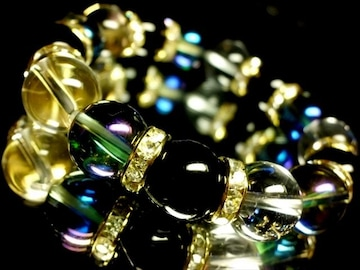 ブルーオーラ§オニキス§水晶12ミリ金ロンデル数珠