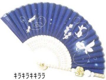 セレブ★デコ扇子幻想艷【涼*金魚�A】カメリア*薔薇*パール