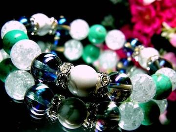ブルー&ホワイトターコイズ§クラック水晶§ブルーオーラ§10ミリ§波形銀ロンデル