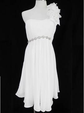 白ワンショルフラワー花上品エレガントミディアムワンピドレス