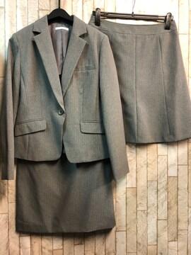 新品☆13号スカート2種付スーツ仕事オールシーズングレー☆j725