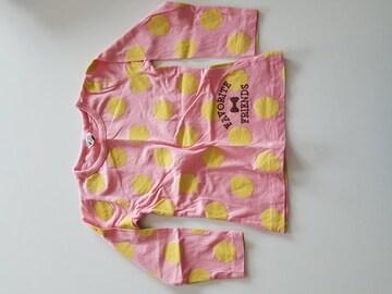 ピンクに黄色水玉、長袖Tシャツ100
