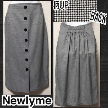 【新品/ Newlyme】フロントボタンチェック柄ナロースカート