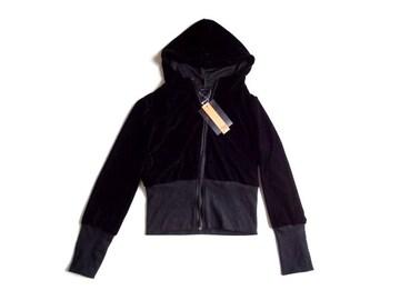 新品 RUMSEE ベロア 黒 パーカー S 小さいサイズ 7号