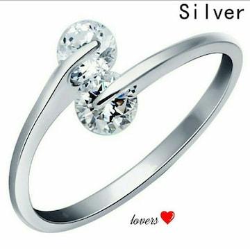 送料無料16号シルバースーパーCZダイヤデザイナーズリング指輪