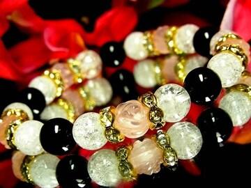 バラ彫ローズクォーツ§クラック水晶§オニキス§8ミリ§花金ロンデル
