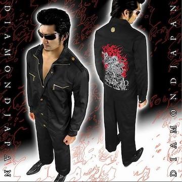上着単品/和柄不動明王刺繍作業着■オラオラ系ヤクザヤンキーメンズ服72黒-XL