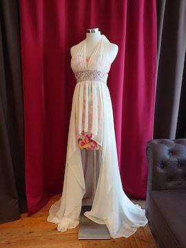 J1714 新品 S ロングドレス Jewels 花柄 インナーミニ シフォン