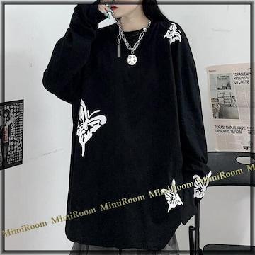 男女兼用〜3L4L【大きいサイズ】ストリート系 蝶々プリント☆長袖Tシャツ