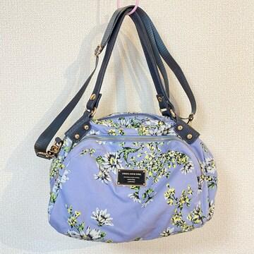 花柄 ショルダーバッグ ハンドバック ブルー
